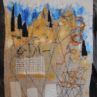 Pistes – Acrylique tissus fils sur papier
